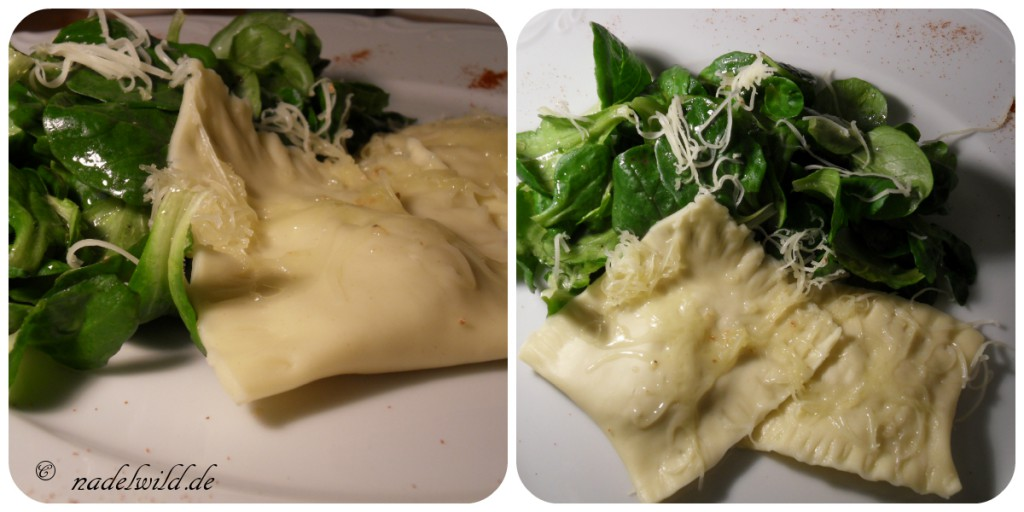 Sauerkraut-Tortellin an Feldsalat