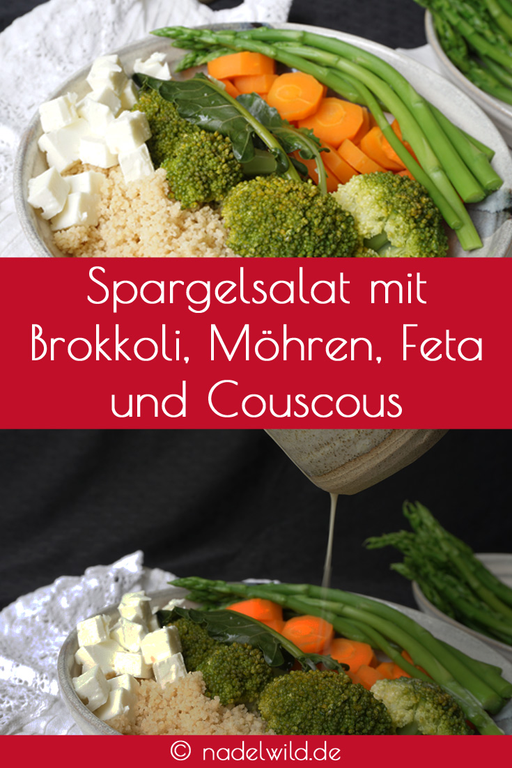 Spargelsalat mit Brokkoli, Möhren, Feta und Couscous